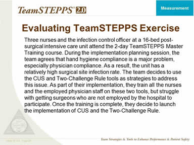 Evaluating TeamSTEPPS Exercise