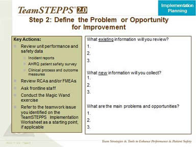 Step 2. Define the Problem Or The Opportunity for Improvement