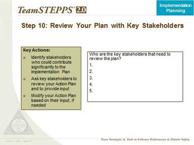Step 10. Review Your Plan With Key Stakeholders