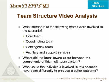Team Structure Video Analysis