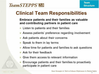 Clinical Team Responsibilities