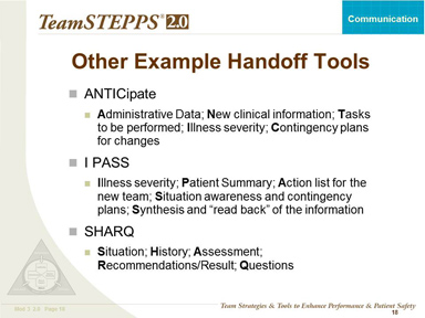 Additional Handoff Tools And Resources