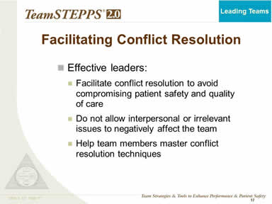 Facilitating Conflict Resolution