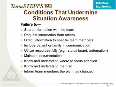 Conditions That Undermine Situation Awareness