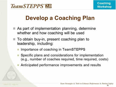 Consider Coaches in Implementation Planning