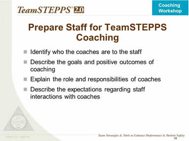 Prepare Staff for TeamSTEPPS Coaching