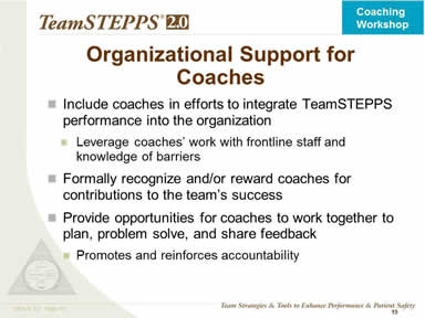 Organizational Support for Coaches