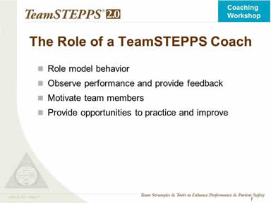The Role of a TeamSTEPPS Coach