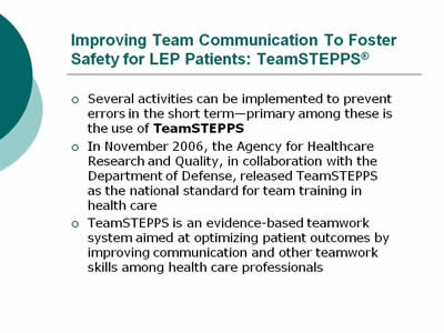 Improving Patient Safety Systems for Limited-English