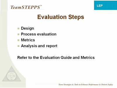 Text: Design; Process evaluation; Metrics; Analysis and report. Refer to the Evaluation Guide and Metrics.