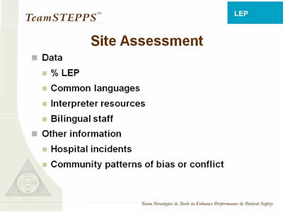 Text: Data; % LEP; Common languages; Interpreter resources; Bilingual staff; Other information; Hospital incidents; Community patterns of bias or conflict.