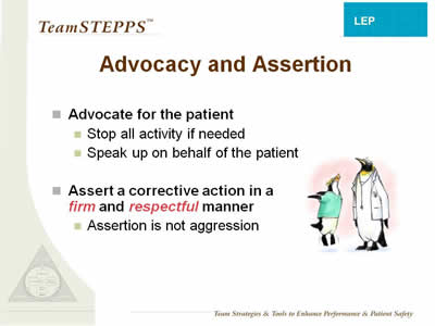 Text: Advocate for the patient: - Stop all activity if needed; Speak up on behalf of the patient. Assert a corrective action in a firmand respectfulmanner: - Assertion is not aggression.