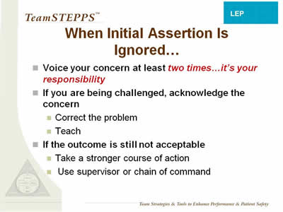 Text: Voice your concern at least two times... it's your responsibility; If you are being challenged, acknowledge the concern; Correct the problem; Teach; If the outcome is still not acceptable; Take a stronger course of action; Use supervisor or chain of command.
