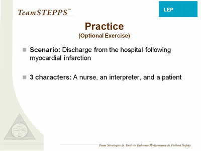 Text: Scenario: Discharge from the hospital following myocardial infarction; 3 characters: a nurse, an interpreter, and a patient.