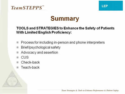 Text: Process for including in-person and phone interpreters; Brief/ psychological safety; Advocacy and assertion; CUS; Check-back; Teach-back.