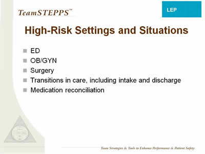 Text: High-Risk Settings and Situations: ED; OB/GYN; Surgery; Transitions in care, including intake and discharge; Medication reconciliation.