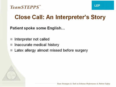 Text: Patient spoke some English...: Interpreter not called; Inaccurate medical history; Latex allergy almost missed before surgery.