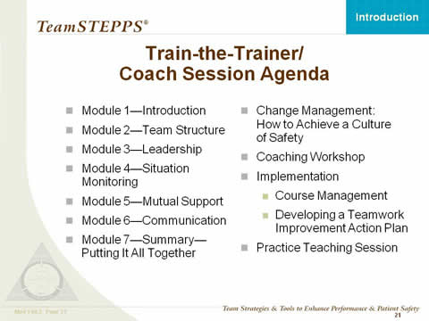 The agenda listed in Slide 11 is repeated, plus the following new items: Change Management: How to Achieve a Culture of Safety. Coaching Workshop. Implementation: Course Management. Developing a Teamwork Improvement Action Plan. Practice Teaching Session.