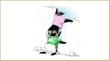 Image: One penguin stands on the shoulders of another to look over an obstacle.