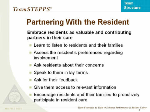 Partnering With the Resident... the remaining slide text is below this image.