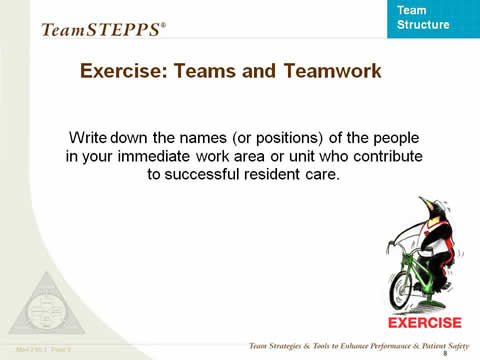 Exercise Teams and Teamwork... the remaining slide text is below this image.