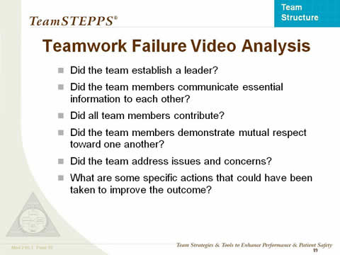 Teamwork Failure Video Analysis ... the remaining slide text is below this image.