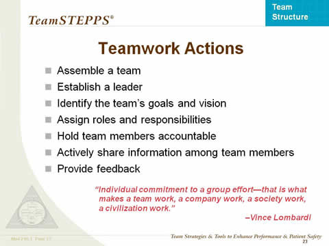 Teamwork Actions... rest of text below this image.