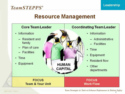 Image: Penguin medical team in center of chart represents Human Capital. Surrounding Human Capital are Core Team Leader (Information [resident and family; plan of care; and facilities], time, and equipment), Coordinating Team Leader (information [administrative, facilities] time, equipment, resident flow, and other departments), FOCUS (team and your unit), and FOCUS (support units).