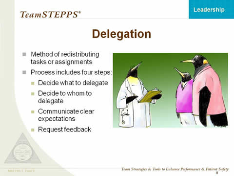 Delegation: Method of re-distributing tasks or assignments. Process includes 4 steps: 1. Decide what to delegate. 2. Decide to whom to delegate. 3. Communicate clear expectations. 4. Request feedback. Right side of slide shows penguin doctor with clipboard in conversation with two penguins wearing scrub tops.