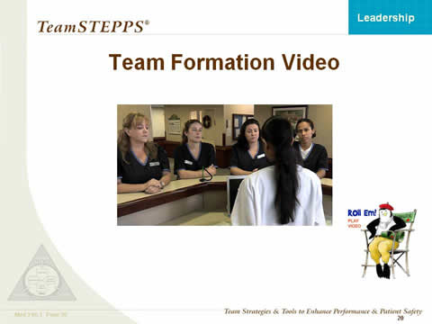 Team Formation Video. Female nurse and four female staff members talking. At bottom right is penguin director icon to denote a video link.