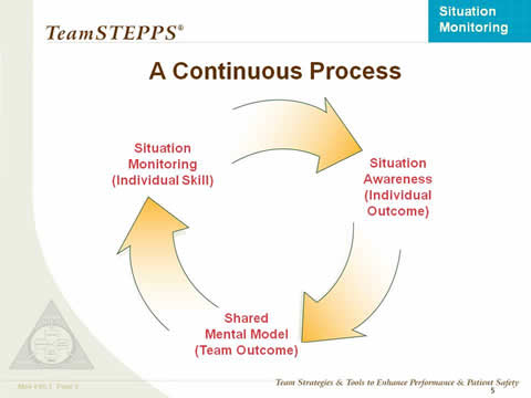 A circular process moves from Situation Monitoring (Individual Skill) to Situation Awareness (Individual Outcome), to Shared Mental Model (Team Outcome), and back to Situation Monitoring (Individual Skill).