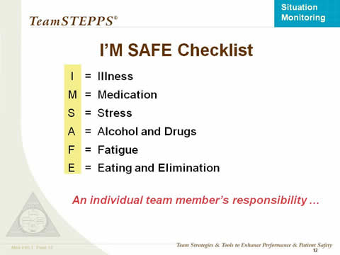 I'M SAFE Checklist: I = Illness; M = Medication; S = Stress; A = Alcohol and Drugs; F = Fatigue; E = Eating and Elimination; and An individual team member's responsibility.