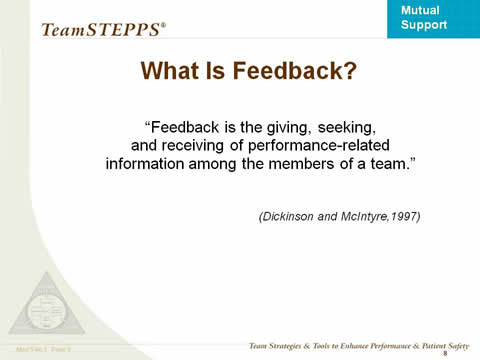 What is Feedback? 'Feedback is the giving, seeking, and receiving of performance-related information among the members of a team.' (Dickinson and McIntyre 1997).