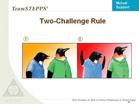 Images: A penguin in a blue shirt is talking to a penguin in a medical assistant's green shirt and stethoscope. In Image 1, the blue-shirted penguin is speaking softly; in Image 2, he is shouting with his wings upraised.