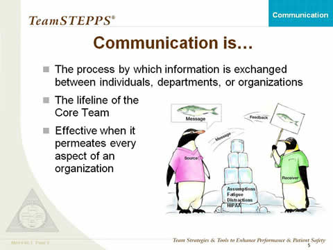 Communication is: The process by which information is exchanged between individuals, departments, or organizations; The lifeline of the Core Team; and Effective when it permeates every aspect of an organization. At right, Two penguins are trying to communicate across a wall labeled assumptions, fatigue, distractions, and HIPPA. The source penguin is thinking about a message. The receiver penguin is holding a sign with the same message. The source sends a message to the receiver and the receiver sends feedback to the source.