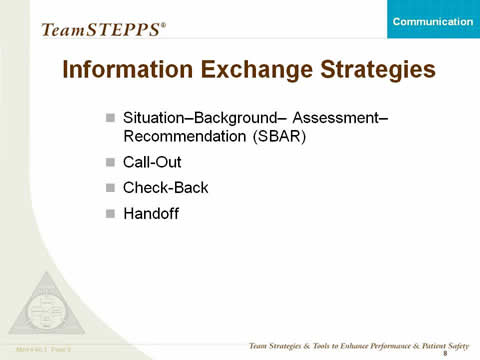 Information Exchange Strategies: Situation--Background--Assessment--Recommendation (SBAR); Call-Out; Check-Back; Handoff