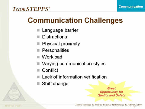 Communication Challenges: Language barrier; Distractions; Physical proximity; Personalities; Workload; Varying communication styles; Conflict; Lack of information verification; and Shift change. Great Opportunity for Quality and Safety.