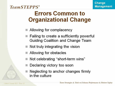 Allowing for complacency. Failing to create a sufficiently powerful Guiding Coalition and Change Team. Not truly integrating the vision. Allowing for obstacles. Not celebrating 'short-term wins'. Declaring victory too soon. Neglecting to anchor changes firmly in the culture.