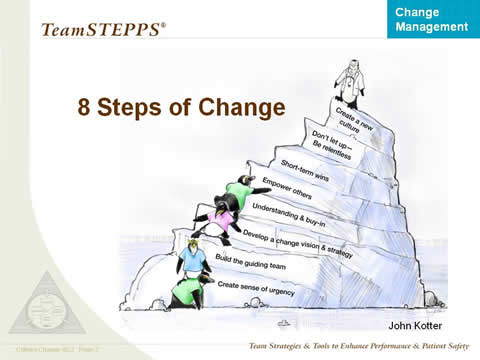 Image: Penguins are shown climbing up an iceberg. Each level is labeled as one Step of Change. The Steps are described below the image.