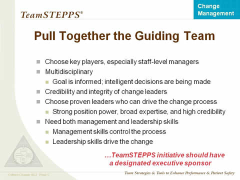 Choose key players, especially staff-level managers. Multidisciplinary. Goal is informed; intelligent decisions are being made. Credibility and integrity of change leaders. Choose proven leaders who can drive the change process. Strong position power, broad expertise, and high credibility. Need both management and leadership skills. Management skills control the process. Leadership skills drive the change.
