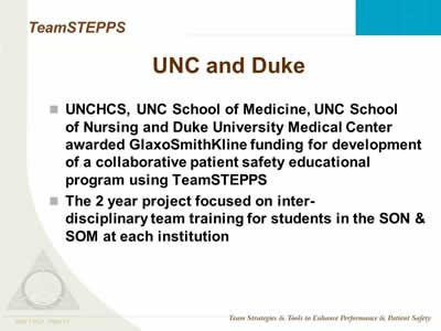 Interdisciplinary Education and TeamSTEPPS: Slide