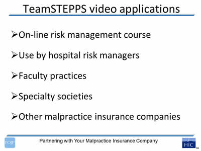 The Medical Liability and Risk Management Perspective: Slide