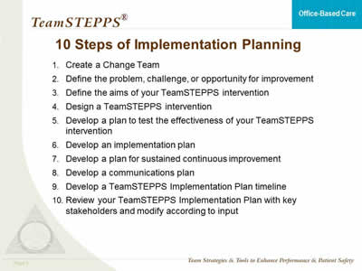 Teamstepps For OfficeBased Care Implementation Planning  Agency