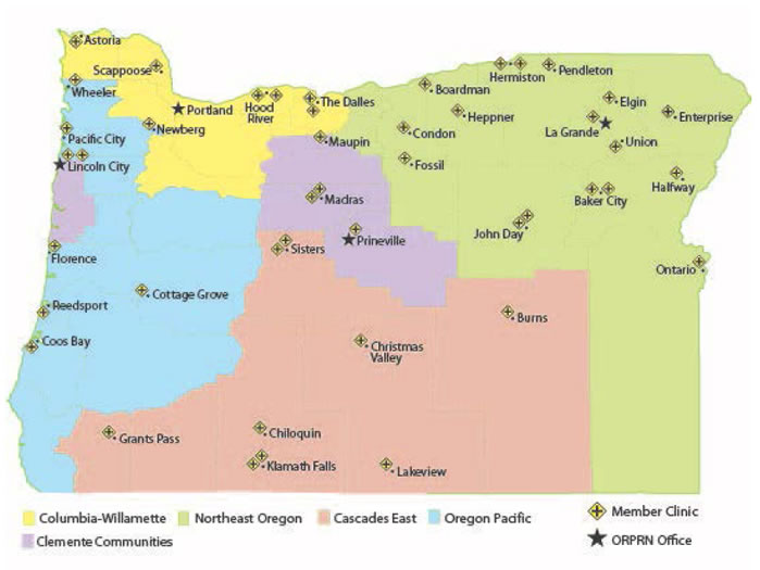 This map of Oregon shows ORPRN's member clinics: In Astoria County, one clinic each is in Astoria, Scappose, Maupin, and Newberg; and two clinics each are in Hood River and The Dalles. In Oregon Pacific County there is one clinic each in Wheeler, Pacific City, Florence, Reedsport, Coos Bay and Cottage Grove; and two each in Lincoln City. In Clement Communities, there is one in Prinesville and two in Madras. In Cascades East, one clinic each is in Grants Path, Christmas Valley, Chiloquin, Lakeview and Burns, and two clinics each are in Sisters and Klamath Falls.  In North East Oregon County there is one clinic each in Boardman, Heppner, Condon, Fossil, La Grande, Pendleton, Elgin, Enterprise, and Halfway; and  two clinics each in John Day, Hemiston, and Baker City. OPBRN offices are indicated in Portland Prineville, Lincoln City, and La Grande.