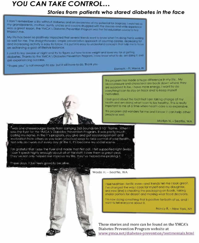 A poster captioned 'You Can Take Control... Stories from patients who stared diabetes in the face' shows a series of colored trapezoids, each containing text from a patient testimonial. One testimonial box is held by an elderly man.