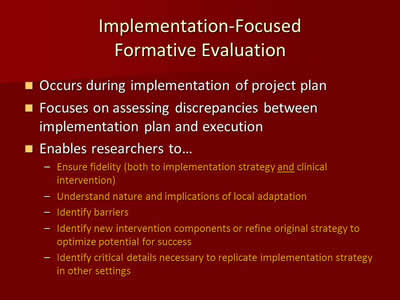 Implementation-Focused Formative Evaluation
