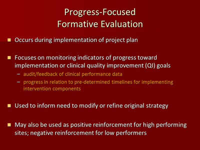 Progress-Focused Formative Evaluation