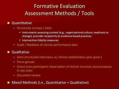 Formative Evaluation Assessment Methods/Tools