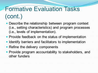 Formative Evaluation Tasks (cont.)
