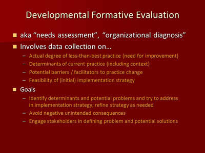 Developmental Formative Evaluation